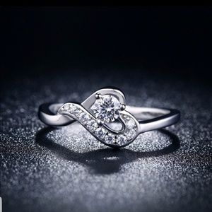 Farah white sapphire sterling silver ring